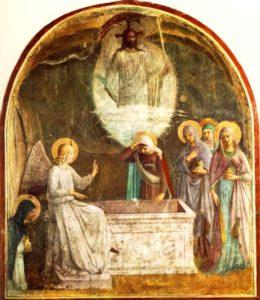 Воскреслий Христос та жінки-мироносиці у гроба, Fra Angelico, фреска, 1440