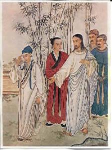 Христос і багатий юнак Китайське зображення, Пекін, 1879.