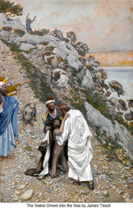 Pent 5 James_Tissot_The_swine_driven_into_the_sea_400