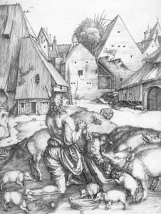 Блудний син серед свиней, гравюра, Durer
