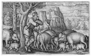 Блудний син серед свиней, гравюра, Hans Sebald Beham, 1538.