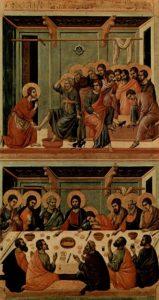 Омовіння ніг апостолів і Тайна Вечеря , from the Maesta by Duccio, 1308-1311