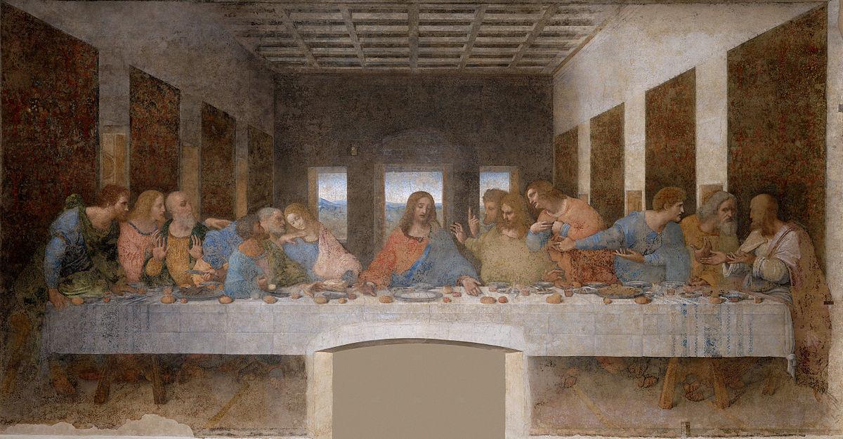 Тайна Вечеря, Леонардо да Вінчі, фреска, 1495–1497, Санта-Марія делле Граціе, Мілан