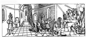 Знищення лютеранами церковного убранства, німецька гравюра 1530р.