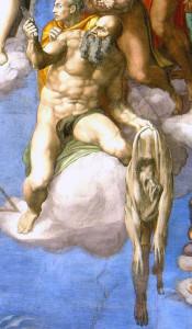 Апостол Варфоломей із власною шкірою, фрагмент Страшного Суда, Мікеланжело
