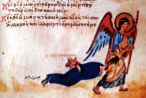 Ангел тягне грішника-іконоборця за волосся