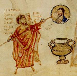 Іконоборці здирають образ Спасителя зі стіни храма, Chludov Psalter, 9th century