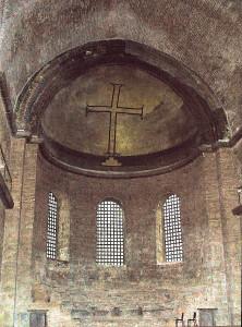 Хрест зображений іконоборцями замість образа Богородиці, церква св. Ірини, Стамбул