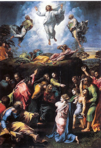 Преображення Христове Рафаель 1519 Преображення вгорі, зцілення біснуватого юнака знизу