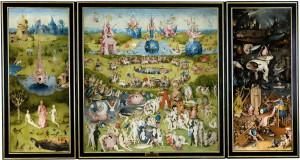 Сад земних зпдоволень, Hieronymus Bosch (Ліва панель - рай, права - пекло, посередині сучасне життя)