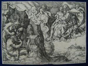 Притча про багача і Лазаря, гравюра, Heinrich Aldegrever, 1554