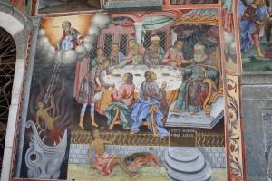 Притча про багача і Лазаря, фреска в монастирі Rila