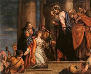 Христос і кровоточива жінка, Paolo Veronese, c. 1548