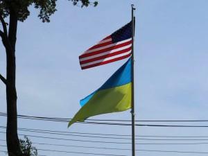 Американський і Український прапори на церковному дворі