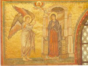 Благовіщення, мозаїка у Santa Maria Maggiore, Рим, 5-те ст.