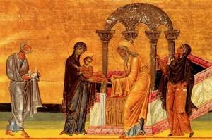 Стрітення, малюнок з Menologion of Basil II, 1000р.
