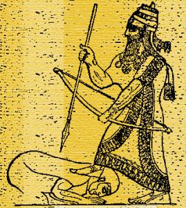 Асирійський цар наступає на горло царю підкореного народу